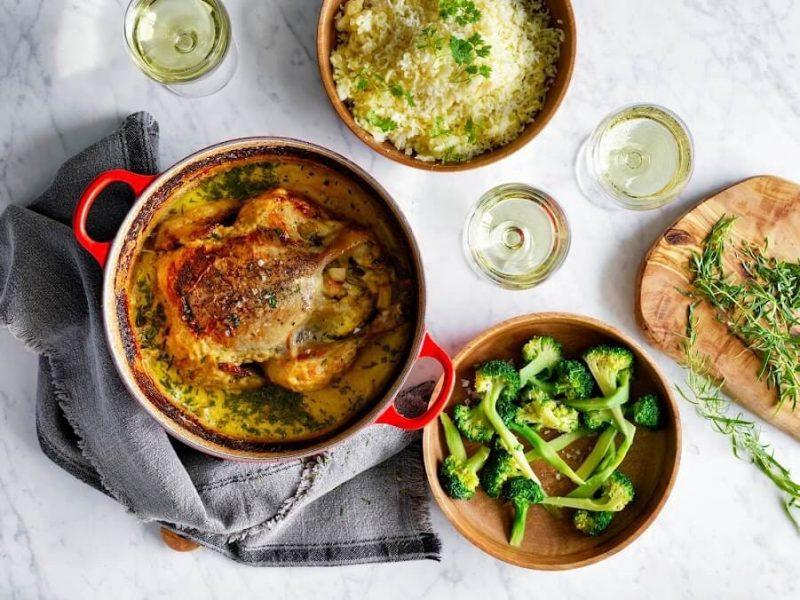 Gräddkyckling med broccoli och pressad potatis