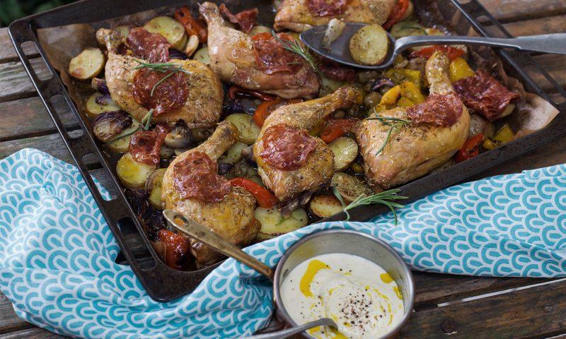 Ugnsstekt kyckling med parmesansås