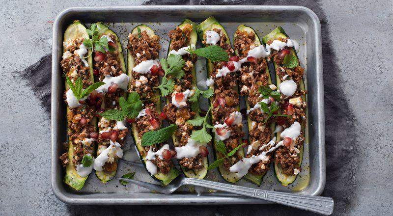 Recept Lammfärsfyllda zucchini