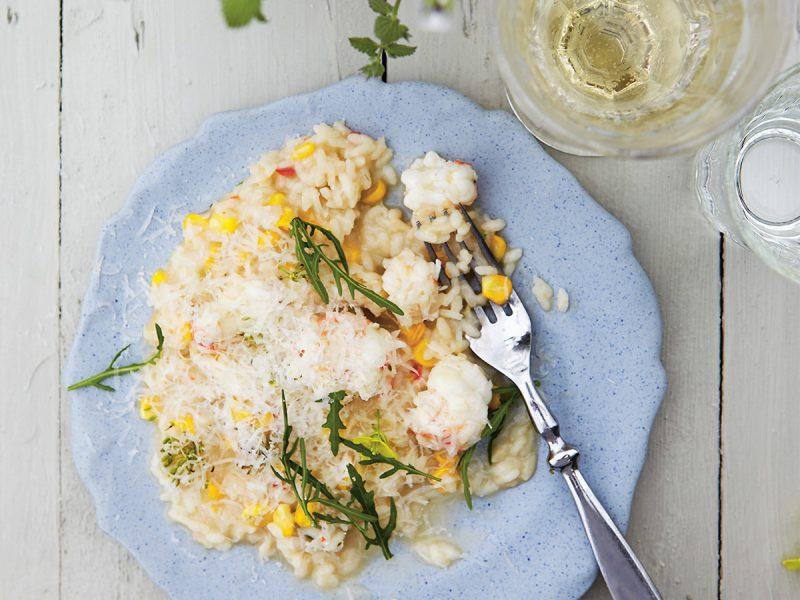 risotto med havskräfta, brynt smör och rostad majs